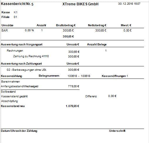 Kassenbericht Kontor POS