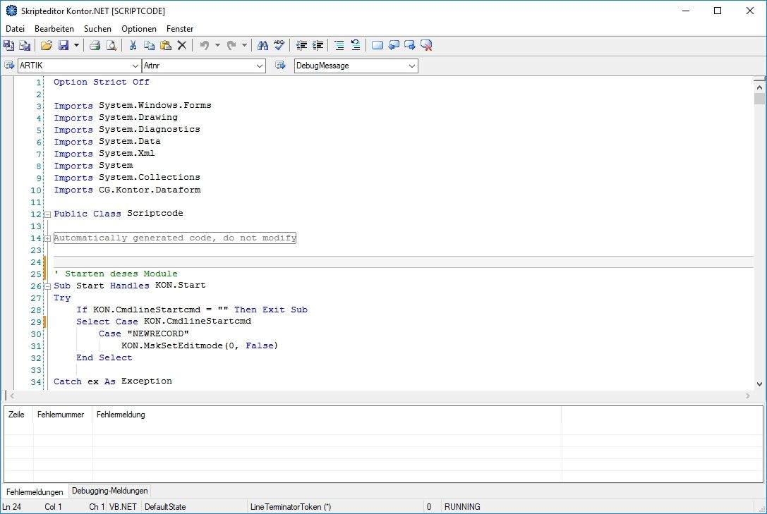 Programmdesigner VB.NET Skripteditor