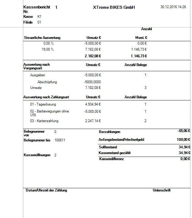 Kontor POS Report Kassenbericht