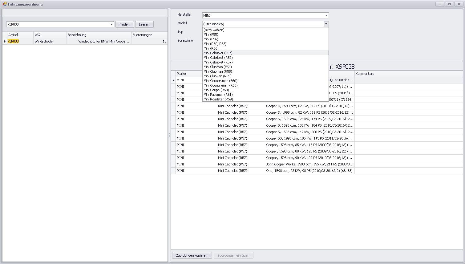 Fahrzeugzuordnung mit HSN/TSN Schlüsselnummern